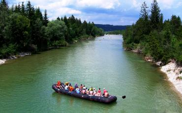 Rafters on the river Isar