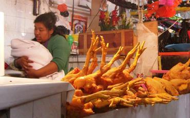 Vendor with baby behind dead chicken