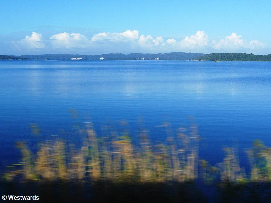 Lake Gatun in Panama with ocean-going ships