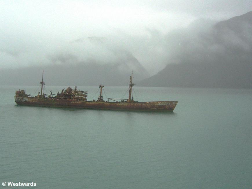 abandoned ship Capitan de Unidas in the Cotopaxi shallow