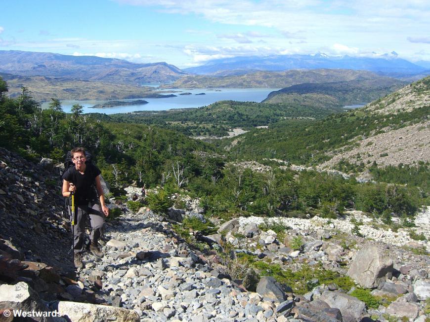 Natascha trekking the Torres del Paine circuit