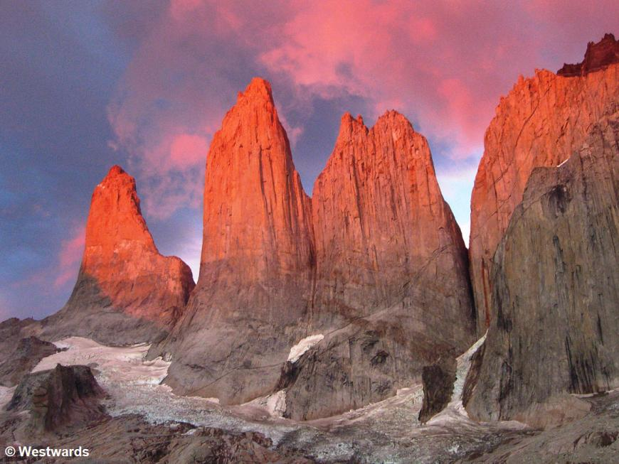 Los Torres in sunrise red, Torres del Paine National Park, Southern Chile