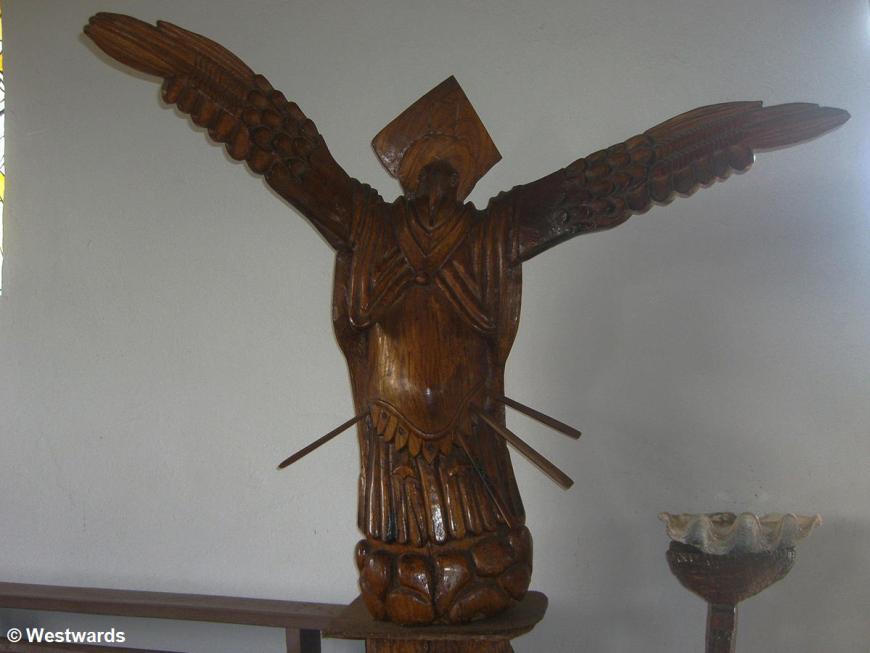 Bird sculpture in the church of Hanga Roa, Easter Island
