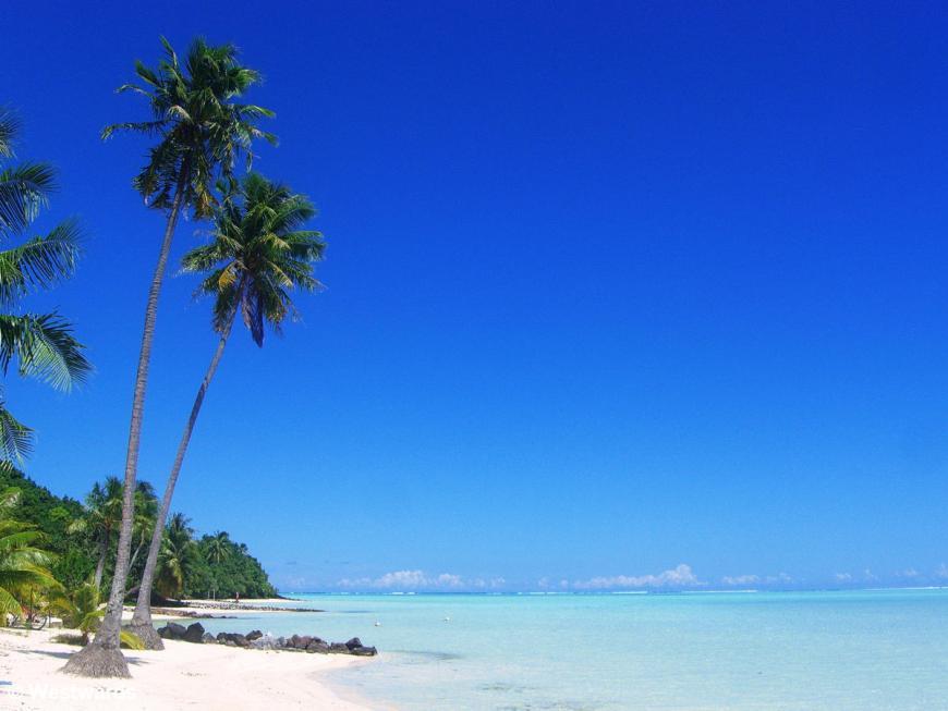 Tereia beach on Maupiti with palms and very blue sea