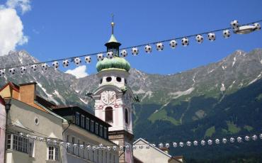 Old Town of Innsbruck with footballs
