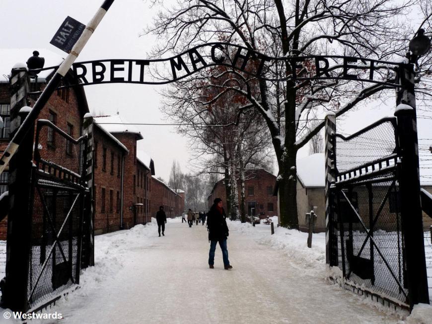 Arbeit macht frei sign in Auschwitz concentration camp