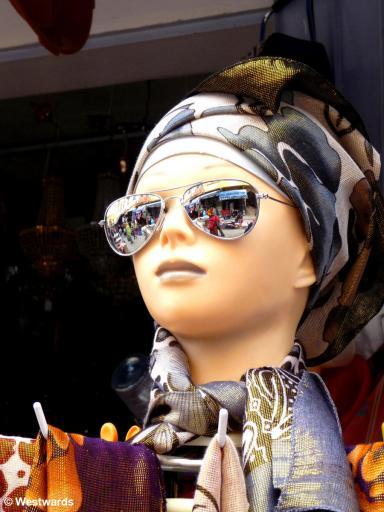 stylish dummy with sunglasses and headscarf in Meknes medina