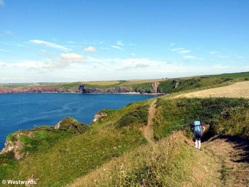 Isa hiking the Pembrokeshire coastal path