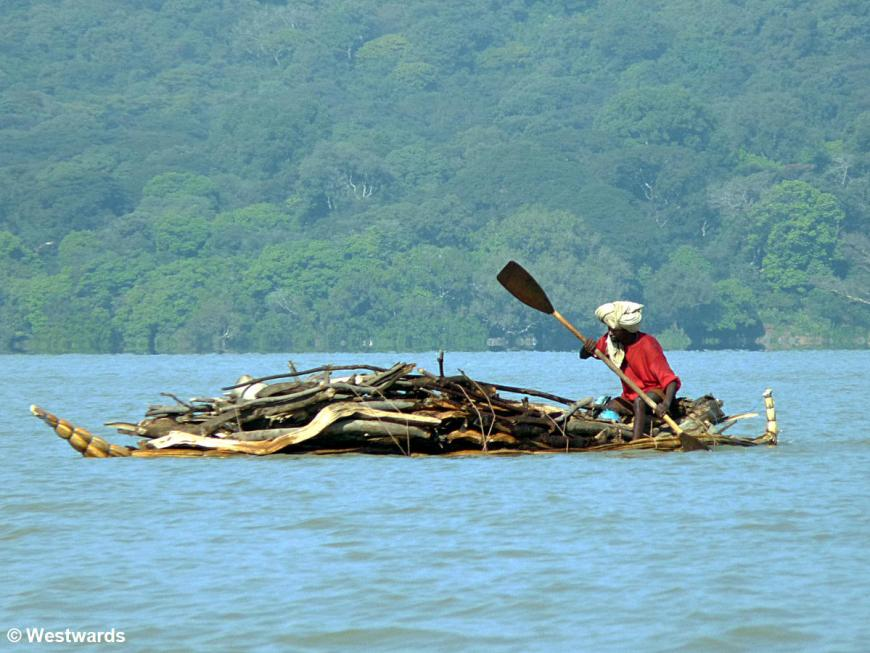 Why we would want a visa extension: raft on Lake Tana