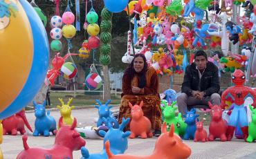 Couple selling toys