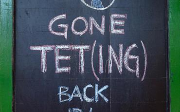 """Gone teting"" sign"