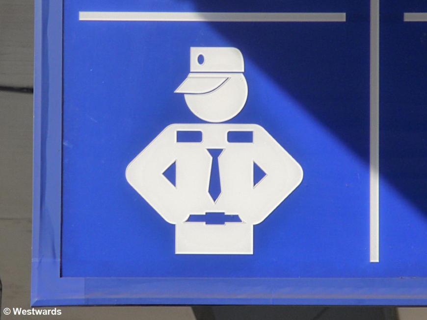 Police traffic sign in Tashkent station