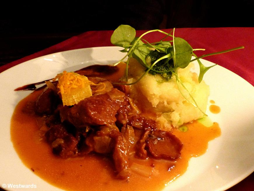 Mock duck with mashed potato - looks like meat but is vegan