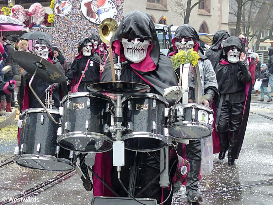 Masked participants of the Cortege during Basel Fasnacht