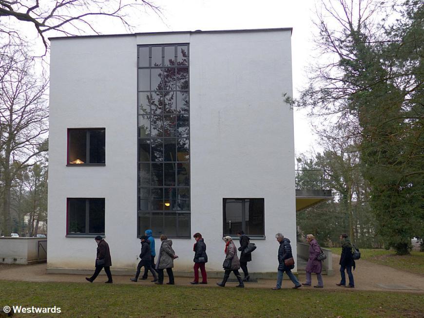 Visitors on a Bauhaus tour at the Dessau Meisterhaeuser
