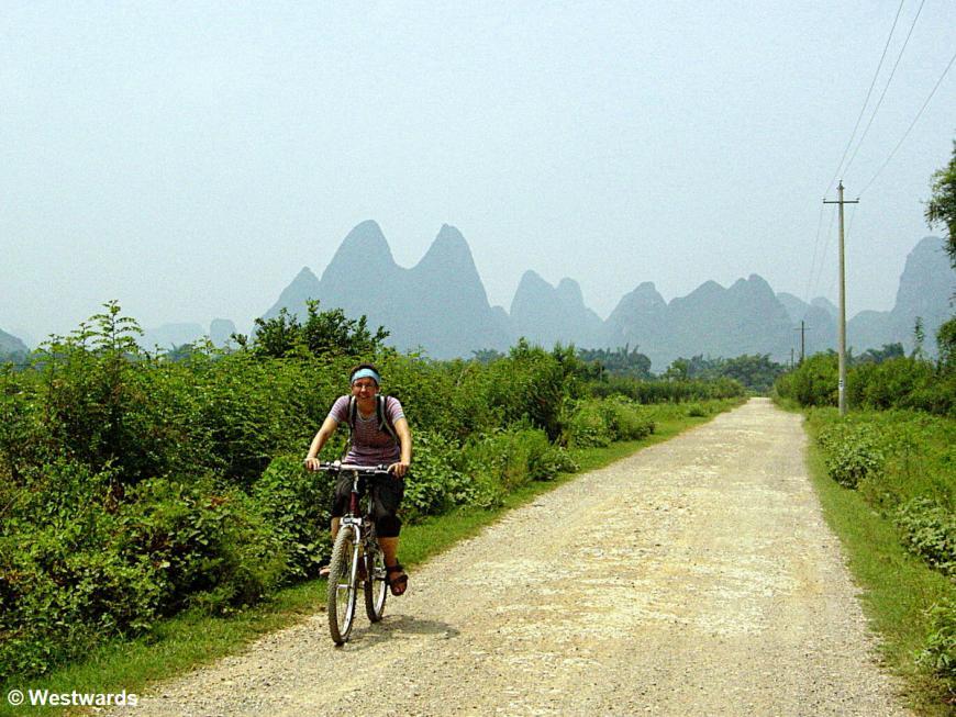 Natascha cycling in Yangshuo