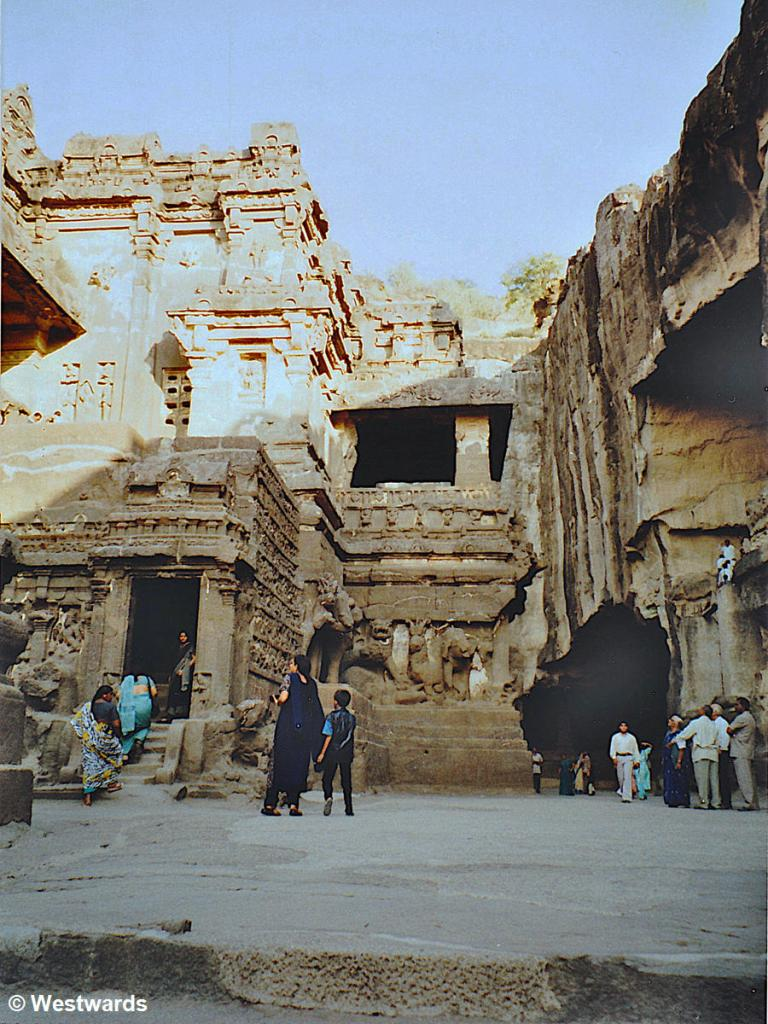tourists at the Kailash Temple in Ellora