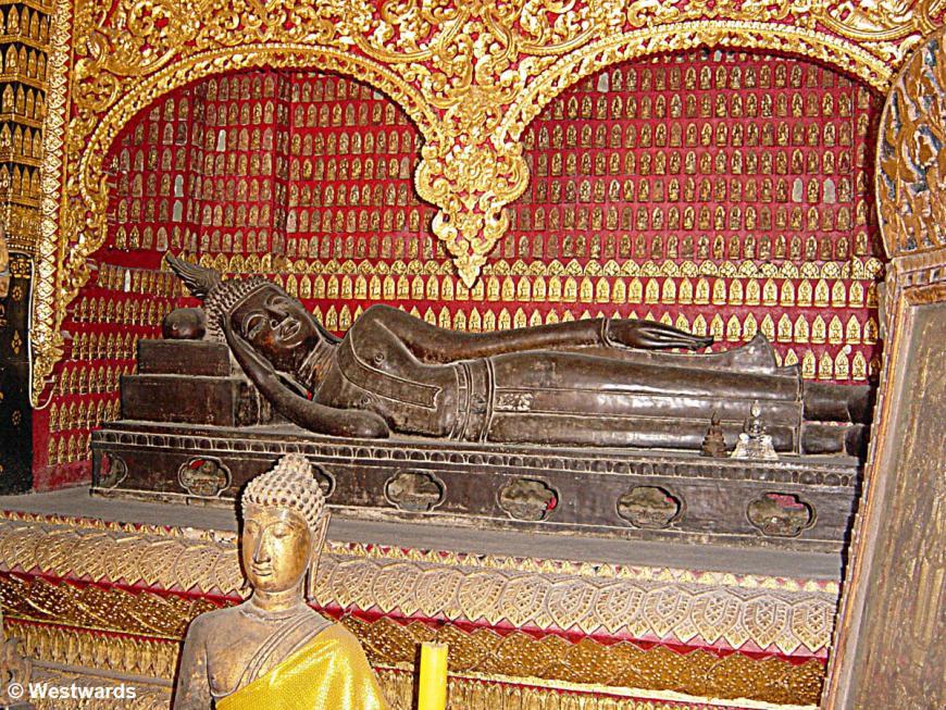 Lying buddha in Wat Xieng Thong, Luang Prabang