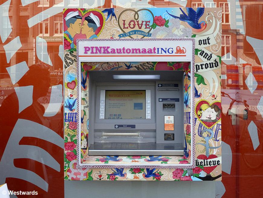Pink automat ATM for gay pride