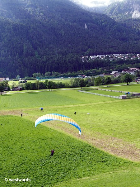 Natascha's first flight in our paragliding course in Stubaital