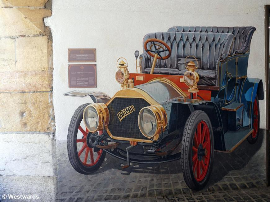 """Mural of the """"Martini,"""" the first car in Neuchatel"""