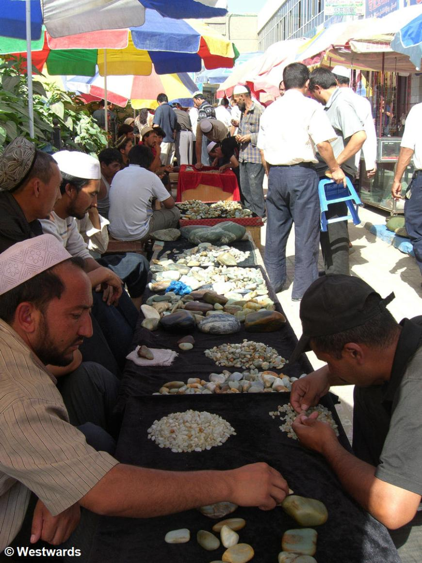 Jade sorting in the Market in Hotan, Xinjiang