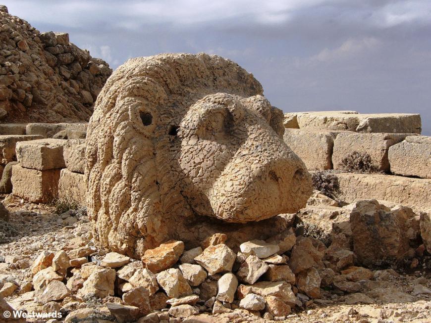 Lion Head stone sculpture on Mt Nemrud in Turkey