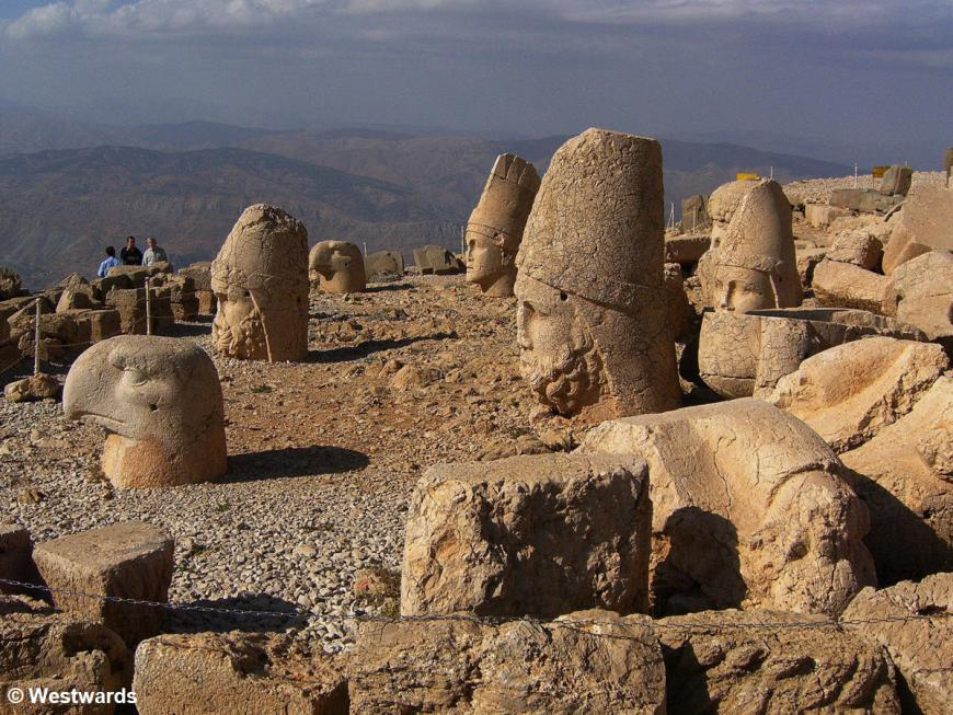 Western terrace of Mount Nemrut, with our driver and fellow travellers