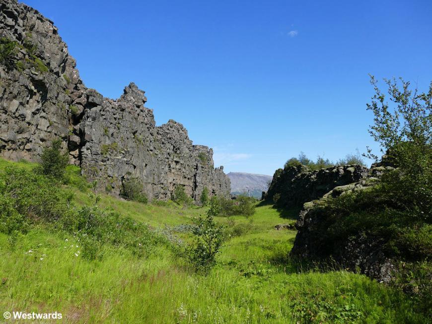 Rock walls in Thingvellir National Park