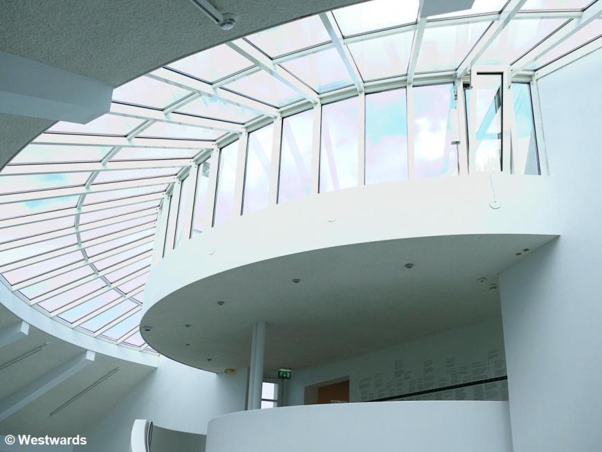 All-white interior of the Asmundur Sveinson Museum in Reykjavik