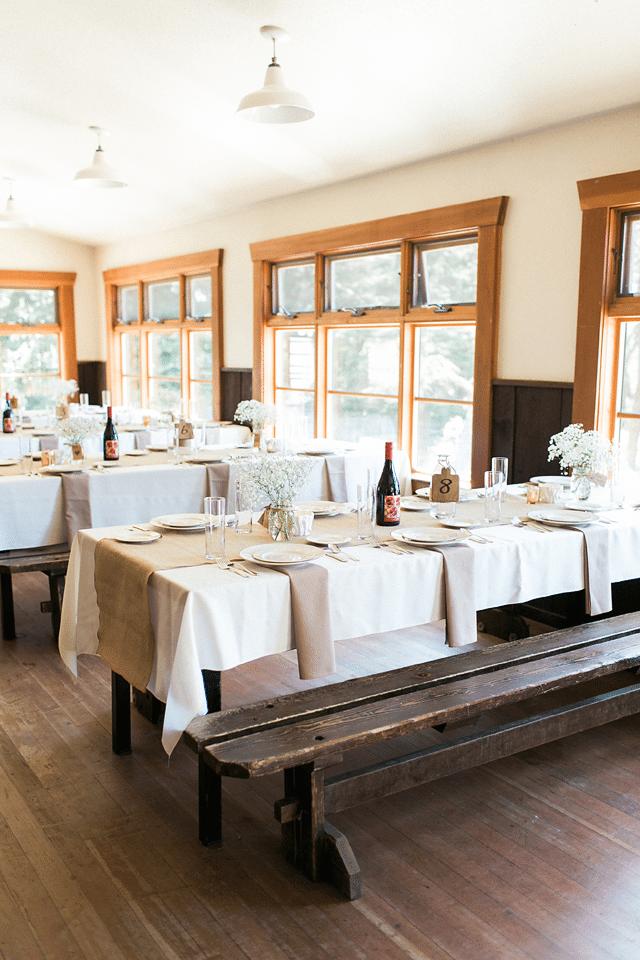 Dining hall set for wedding