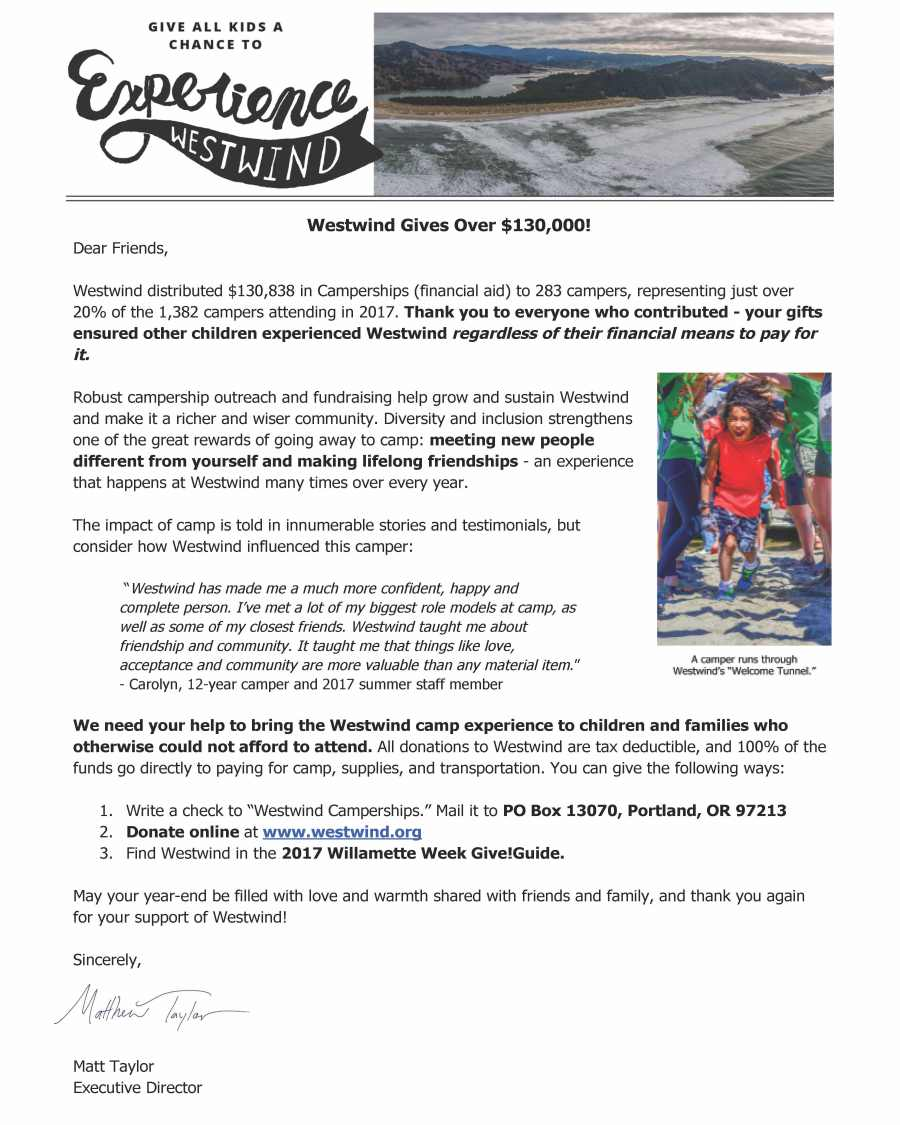 Westwind EndOfYear Appeal Letter  Westwind