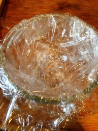cover the bomb with cling film