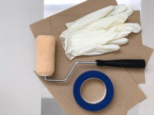 Wetlander Painting Kit including roller, roller handle, latex gloves, apinters tape and 4 sheets of sandpaper