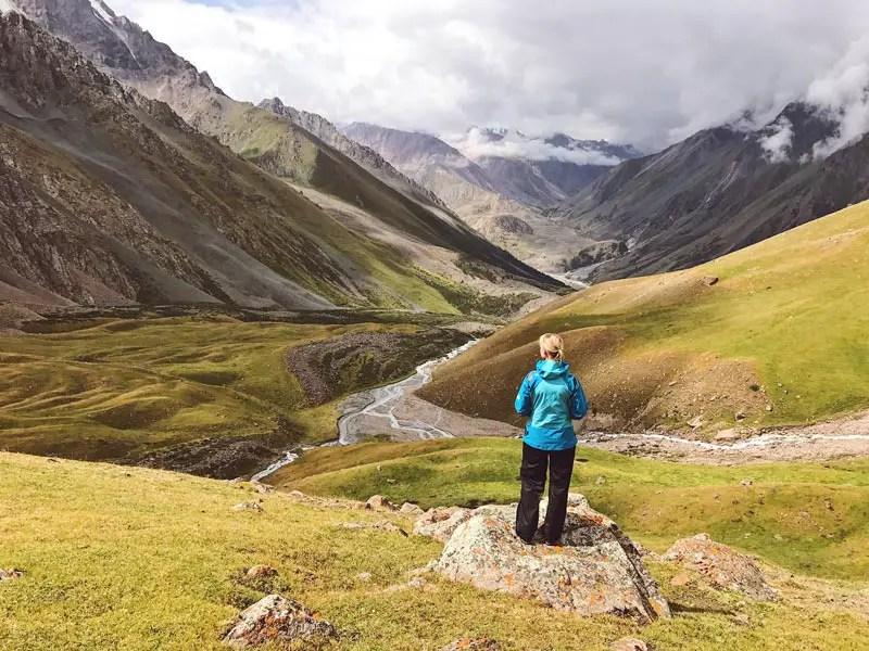 Blick ins Tal vom Dunguromo Pass, Kirgistan