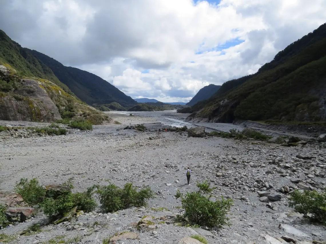 Blick ins Tal des Franz Josef Gletschers