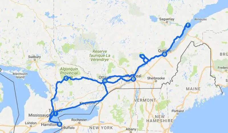 Kanada-Rundreise-route-2-wochen_osten