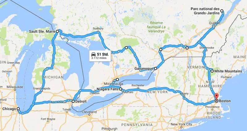 Kanada-Rundreise-route-3-wochen