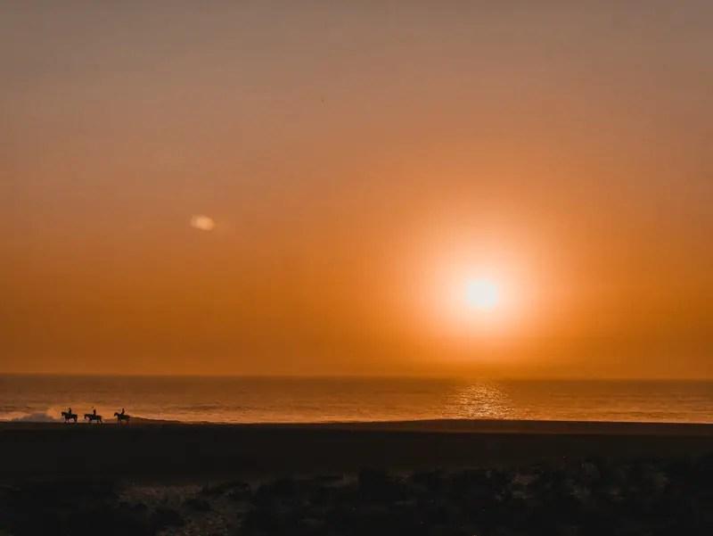 Portugal Sonnenuntergang Praia du Norte