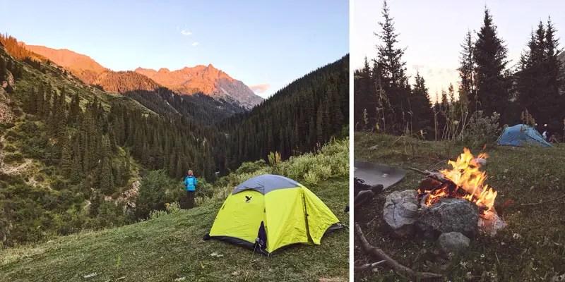 Campsite beim Trekking in Kirgistan