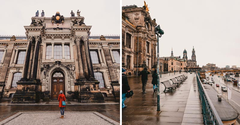 Dresden Sehenswürdigkeiten im Winter Brühlsche Terrasse