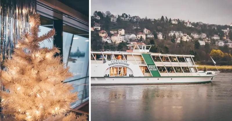 Dresden Sehenswürdigkeiten im Winter Weihnachtsmarkt Schiffrundfahrt