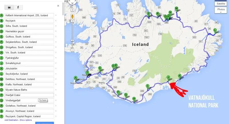 Island Eishöhlen Vatnajökull Karte Standort