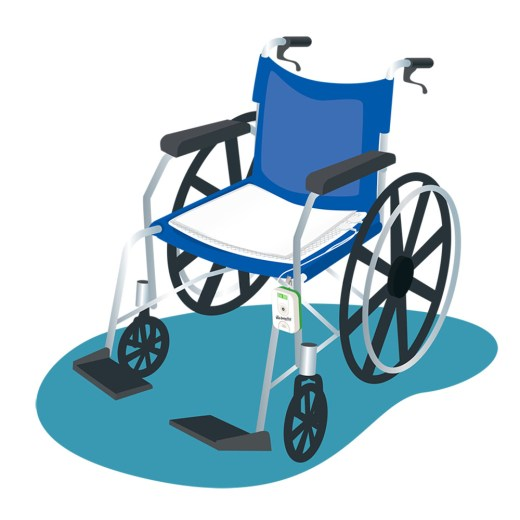 Illustration of wheelchair using Wet-Detective sensor pad for alerts