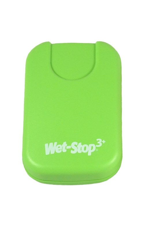 Wet-Stop 3+ wearable bedwetting alarm unit shown in green