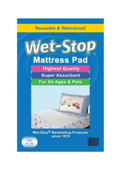 "Wet-Stop waterproof mattress pad, 34"" x 52"", washable and reusable."