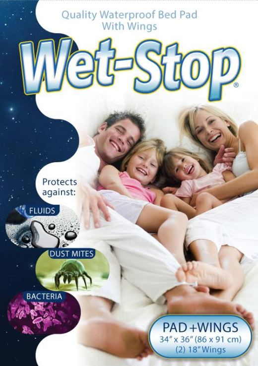 """Wet-Stop waterproof bed pad, 34"""" x 36"""" with 18"""" tuck wings on both sides"""