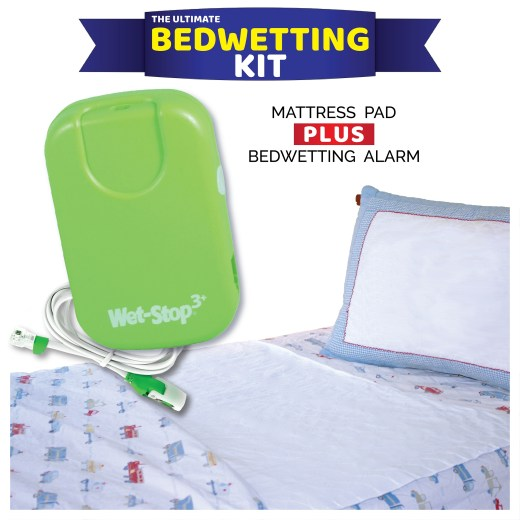 "The Ultimate Bedwetting Kit includes a Wet-Stop 3+ bedwetting alarm and one 24"" x 36"" mattress pad."