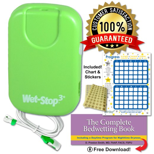 "Wet-Stop 3+ bedwetting alarm, green with all components: sensor cord, rewards chart, star stickers, and e-book ""The Complete Bedwetting Book."""