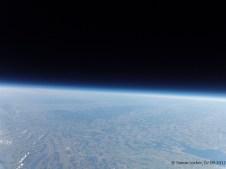 29865.1 m ü. M., -43.12°C: Aussicht nach Norden, gut sichtbar der Schwarzwald in der Mitte